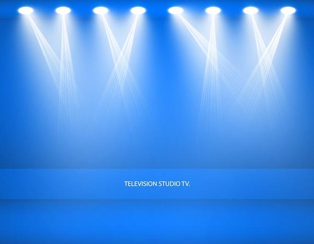 Plano de fundo do estúdio. estúdio azul vazio de vetor para seu projeto, holofotes. gráficos vetoriais