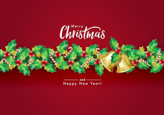 Plano de fundo do feriado de natal com desejos da estação e borda da guirlanda decorada com galhos de azevinho, estrelas, bastões de doces e sinos