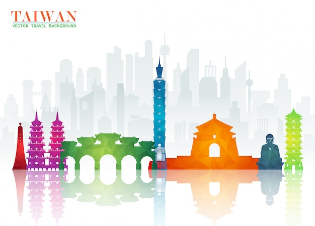 Plano de fundo do jornal taiwan landmark global travel and journey
