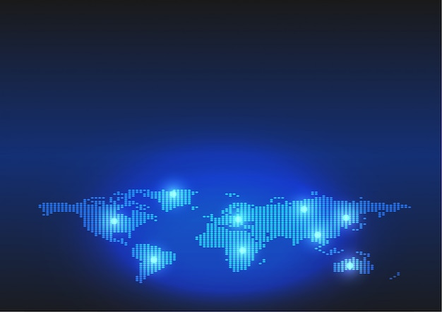 Plano de fundo do mapa pontilhado do mundo em estilo digital de tecnologia