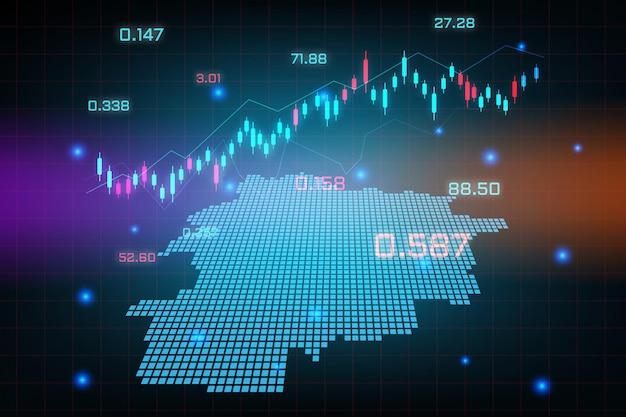 Plano de fundo do mercado de ações ou gráfico de gráfico de negócios de negociação forex para o conceito de investimento financeiro do mapa de andorra. ideia de negócio e design de inovação tecnológica.
