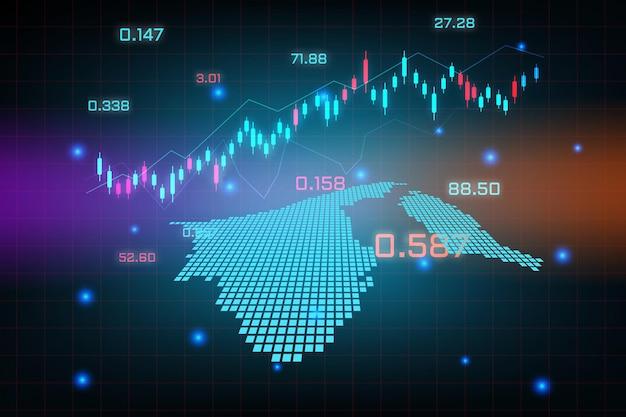 Plano de fundo do mercado de ações ou gráfico de gráfico de negócios de negociação forex para o conceito de investimento financeiro do mapa de brunei darussalam. ideia de negócio e design de inovação tecnológica.