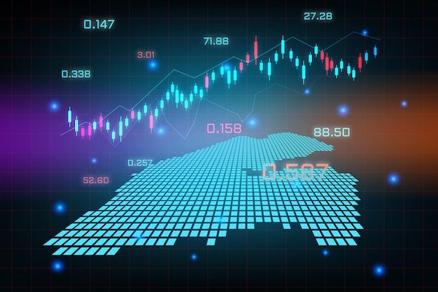 Plano de fundo do mercado de ações ou gráfico de gráfico de negócios de negociação forex para o conceito de investimento financeiro do mapa de djibouti.