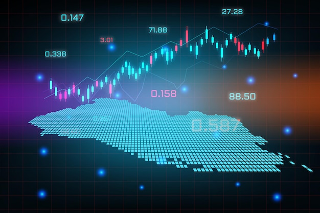 Plano de fundo do mercado de ações ou gráfico de gráfico de negócios de negociação forex para o conceito de investimento financeiro do mapa de el salvador.