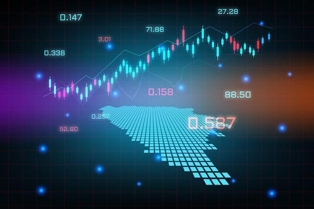 Plano de fundo do mercado de ações ou gráfico de gráfico de negócios de negociação forex para o conceito de investimento financeiro do mapa dos cantões da bósnia herzegovina. ideia de negócio e design de inovação tecnológica.
