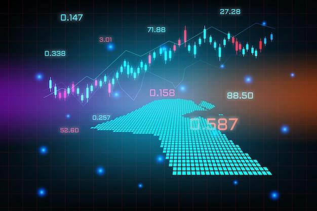 Plano de fundo do mercado de ações ou gráfico gráfico de negócios de negociação forex para o conceito de investimento financeiro do mapa do kuwait. ideia de negócio e design de inovação tecnológica.