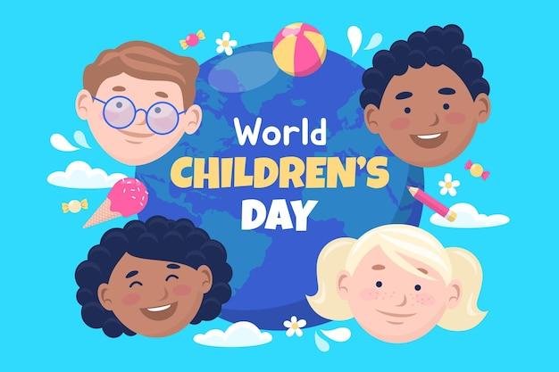 Plano de fundo do mundo plano das crianças