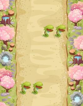 Plano de fundo do nível do jogo com plataformas e itens jogo paisagem da primavera com armadilhas