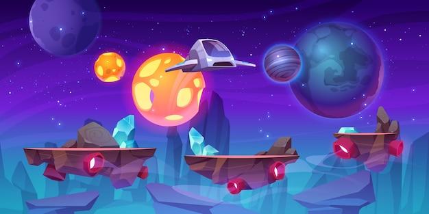Plano de fundo do nível do jogo espacial com plataformas