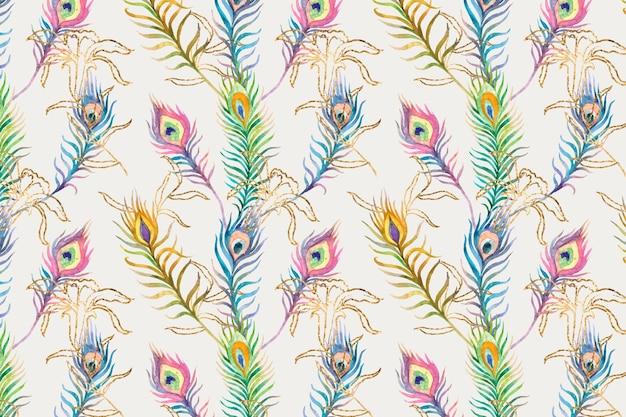Plano de fundo do padrão aquarela colorido de penas de pavão