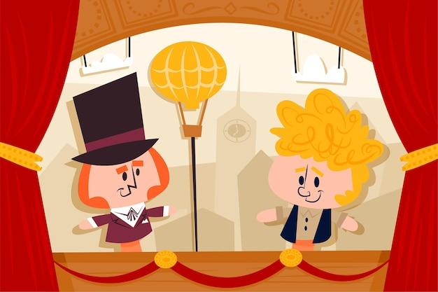 Plano de fundo do show de marionetes teatral