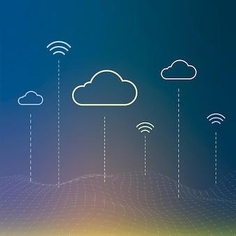 Plano de fundo do sistema de rede em nuvem para postagem em mídia social