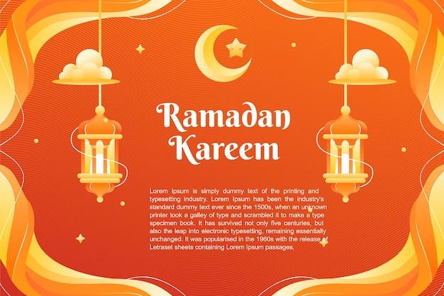 Plano de fundo do tema ramadhan kareem e design de modelo de banner