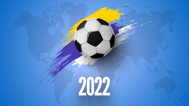 Plano de fundo do torneio de futebol com bola de futebol e pincelada colorida
