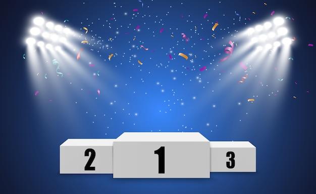 Plano de fundo do vencedor com sinais de primeiro, segundo e terceiro lugares em um pedestal redondo