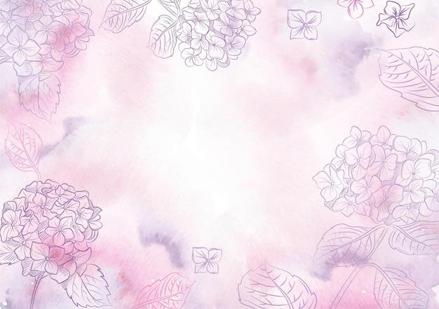 Plano de fundo do vetor de flores de hortênsia roxa