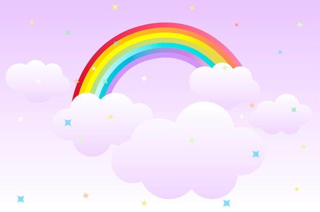 Plano de fundo dos desenhos animados com arco-íris no céu e nuvens para design gráfico. fundo bonito da ilustração vetorial com estrelas para papel de parede.