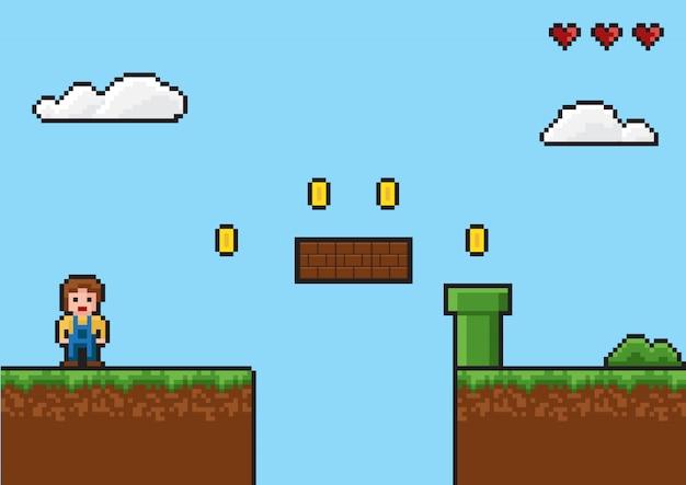 Plano de fundo em pixels. estilo retro, 8 bits, plano de fundo de jogos antigos