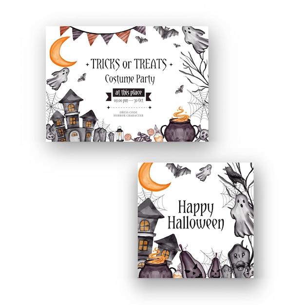 Plano de fundo feliz dia das bruxas e modelo de panfleto de convite de festa com símbolos de terror caveira de ossos de abóbora fundo de dia das bruxas