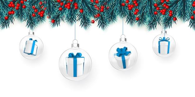 Plano de fundo festivo de natal ou ano novo. galhos de árvores de natal com bagas de azevinho, jingle bell e bola de natal. fundo do feriado. ilustração vetorial.