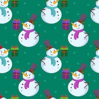 Plano de fundo festivo sem costura com um boneco de neve fofo em um chapéu alto e um presente