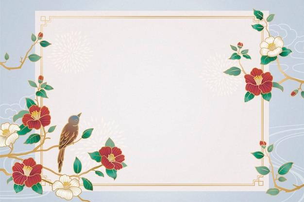 Plano de fundo gracioso do ano lunar com decorações de pássaros e camélias