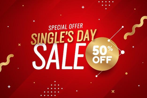 Plano de fundo gradiente dourado e vermelho de venda de dia único
