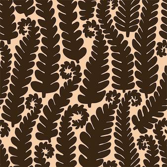 Plano de fundo gráfico de ramos de samambaia. padrão sem emenda do vetor.