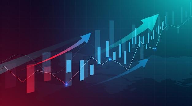 Plano de fundo gráfico do gráfico de velas de negócios