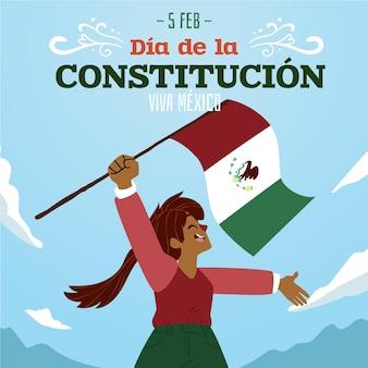 Plano de fundo ilustrado do dia da constituição do méxico