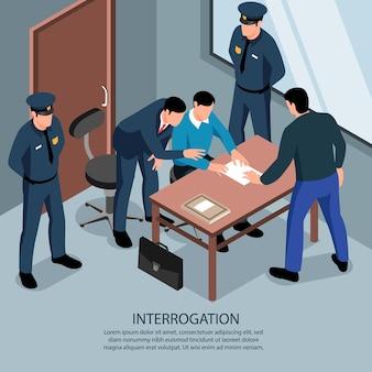Plano de fundo isométrico de advogado com texto editável e cenário interno da sala de interrogatório com policiais e advogado