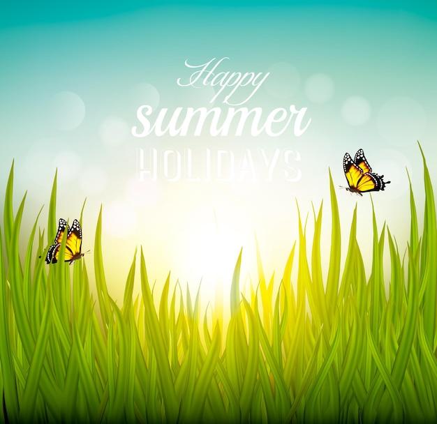 Plano de fundo lindo de verão com grama e borboletas. vetor.