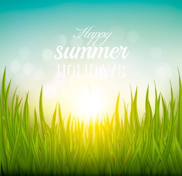 Plano de fundo lindo de verão com grama e sol. vetor.