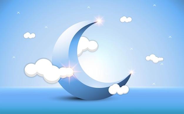 Plano de fundo luxuoso ramadan kareem com lua crescente azul e nuvens