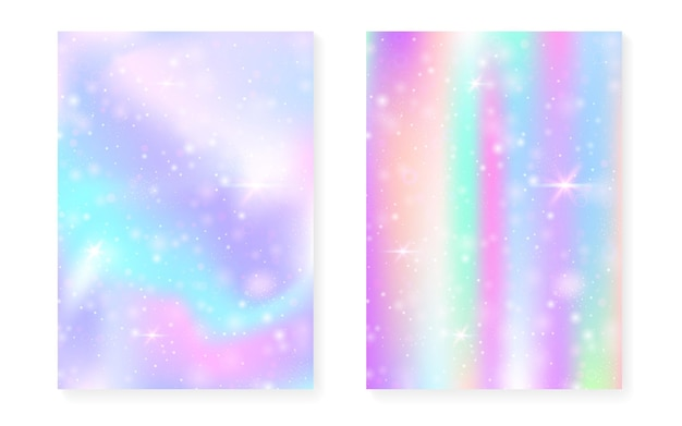 Plano de fundo mágico com gradiente de arco-íris de princesa. holograma de unicórnio kawaii. conjunto de fadas holográficas. capa de fantasia do espectro. plano de fundo mágico com brilhos e estrelas para convite de festa linda garota.