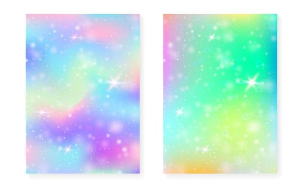 Plano de fundo mágico com gradiente de arco-íris de princesa.