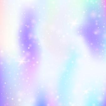 Plano de fundo mágico com malha de arco-íris. banner do universo girlie nas cores da princesa. pano de fundo gradiente de fantasia com holograma. fundo mágico holográfico com brilhos de fadas, estrelas e borrões.