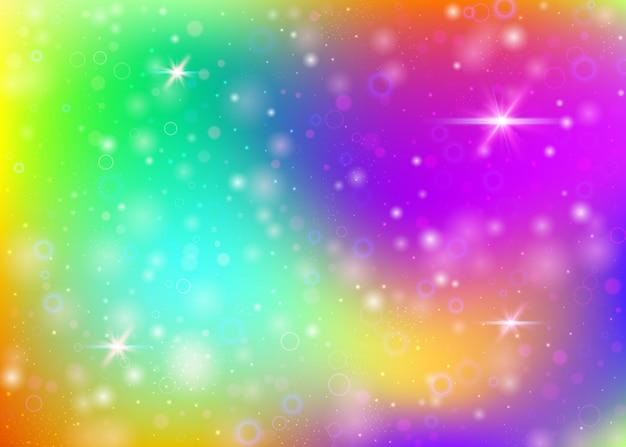 Plano de fundo mágico com malha de arco-íris. banner do universo kawaii nas cores da princesa. pano de fundo gradiente de fantasia com holograma. fundo mágico holográfico com brilhos de fadas, estrelas e borrões.