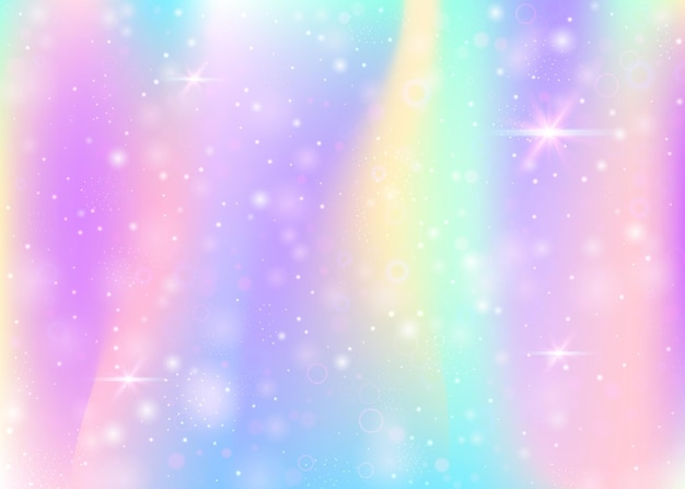 Plano de fundo mágico com malha de arco-íris. banner universo multicolor nas cores da princesa. pano de fundo gradiente de fantasia com holograma. fundo mágico holográfico com brilhos de fadas, estrelas e borrões.