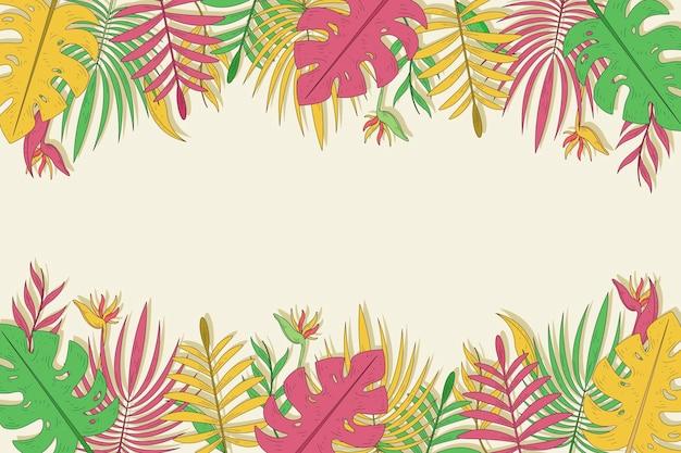 Plano de fundo multicolorido folhas tropicais