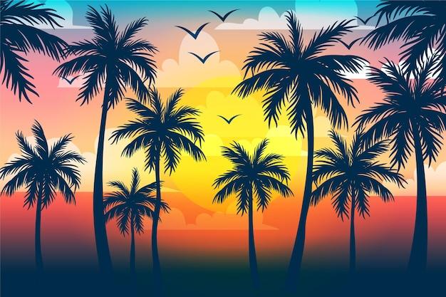 Plano de fundo multicolorido palm silhuetas
