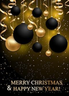 Plano de fundo natal e ano novo com bolas de enfeites pretas e douradas.