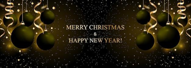 Plano de fundo natal e ano novo com bolas de enfeites pretas e fitas douradas