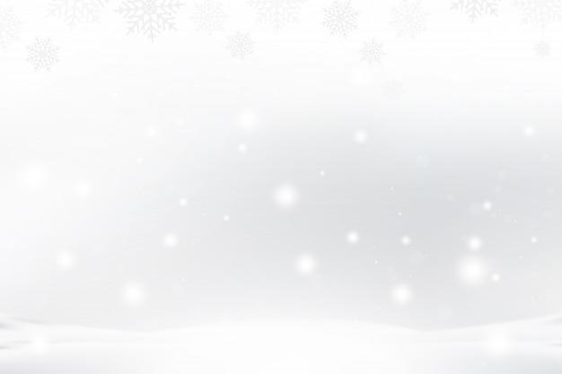 Plano de fundo natal e ano novo com flocos de neve e efeitos de luz sobre um fundo azul.