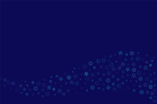 Plano de fundo natal e ano novo com flocos de neve em um fundo azul.
