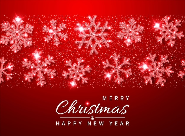 Plano de fundo natal e ano novo com flocos de neve vermelhos brilhantes glitter brilhantes.