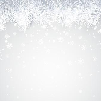 Plano de fundo natal e ano novo com galho de pinheiro e neve para o natal