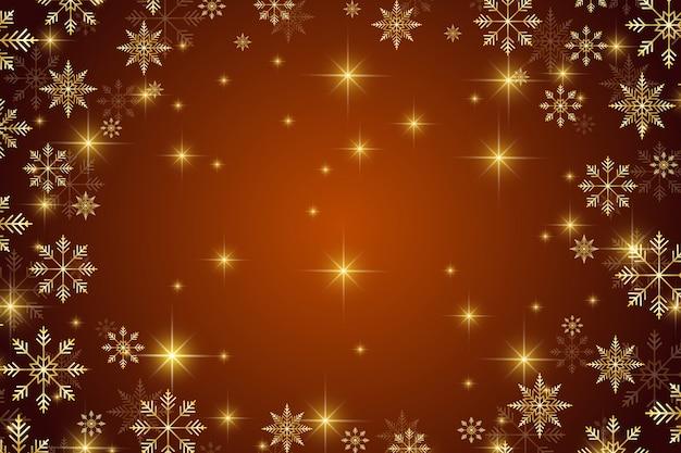Plano de fundo natal e feliz ano novo com flocos de neve dourados. ilustração.