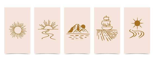 Plano de fundo natural para mídias sociais. conjunto de história do instagram com sol, montanha, rio