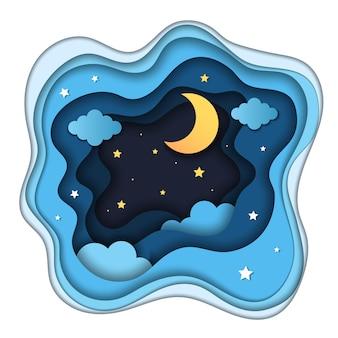 Plano de fundo noturno. paisagem de origami abstrata de papel cortado com espaço de sombras com estrelas.